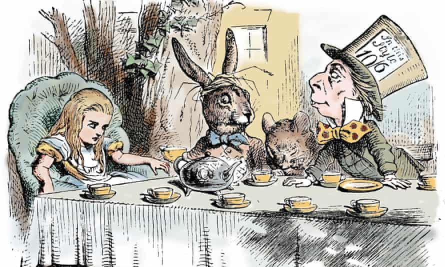One of Lewis Carroll's original paintings of Alice sitting sulkily with the March Hare, Dormouse and Mad Hatter.