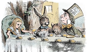 The Mad Hatter's Tea Party, a drawing by John Tenniel in Alice's Adventures in Wonderland by Lewis Carroll, 1865.