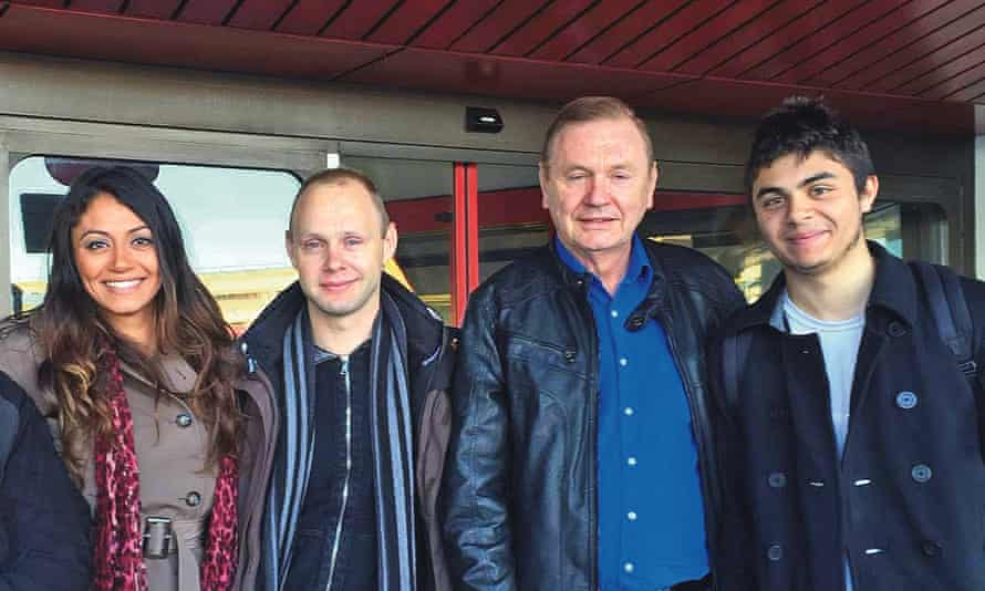 Barsky with Matthias (second left), his German son, and Chelsea and Jessie, his American son and daughter in 2015.