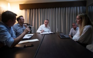 Bill Shorten at a strategy meeting with his staff and Labor president Wayne Swan in Townsville.