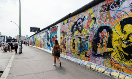 Artworks in Berlin's East Side Gallery.