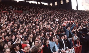 Liverpool fans on the terraces at th 1971 FA Cup semi-final against Everton