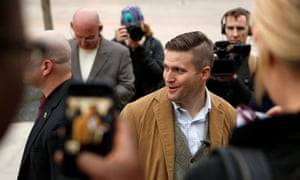 Richard Spencer arrives on campus to speak at an event not sanctioned by the school, at Texas A&M University in College Station.