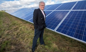 George Nobbs, leader of Norfolk council, at the £30m Coltishall solar panel farm, which was completed in seven weeks.