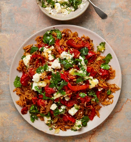 Yotam Ottolenghi's red rice with feta and coriander.