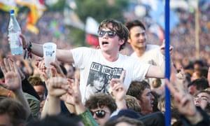 Sensory overload … the Glastonbury crowd.