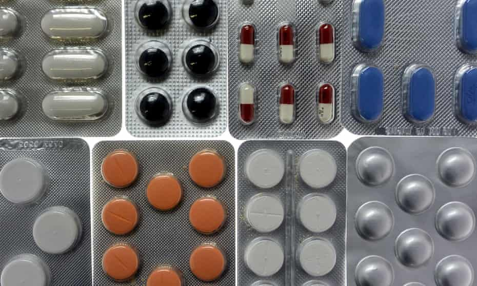 Pharmaceutical tablets and capsules in foil strips.