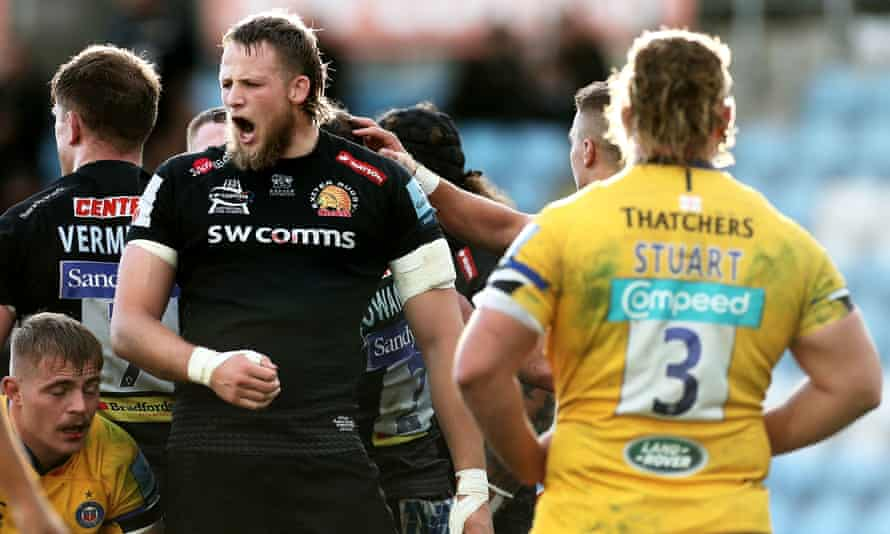 The Exeter second-row Jonny Hill celebrates his side's second try against Bath, scored by Luke Cowan-Dickie