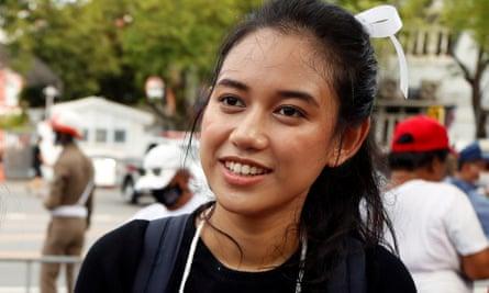 Patsaravalee 'Mind' Tanakitvibulpon takes part in a protest in Bangkok.