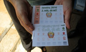 A food voucher is displayed in the drought-hit village of Mbalavala