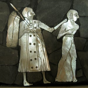Shell inlay from Mari, showing a soldier leading off a bound prisoner.