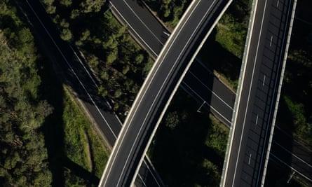 Empty motorways near Sydney in April.