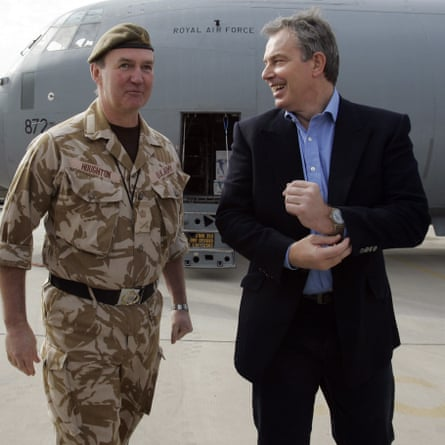 Tony Blair at Basra airport in 2005 with then Lt Gen Nick Houghton, the senior military commander in Iraq.