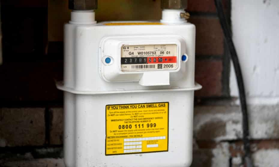 A domestic gas meter sits in a home in Knutsford, England.