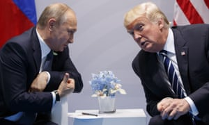 Vladimir Putin and Donald Trump at the G20 meeting in Hamburg in July 2017.