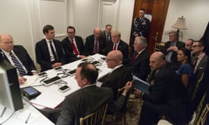 President Donald Trump receives a briefing on the Syria military strike from his National Security team.