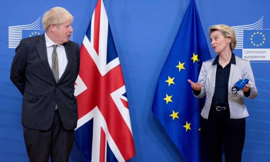 Ursula von der Leyen and Boris Johnson at a meeting in Brussels, 9 December 2020.