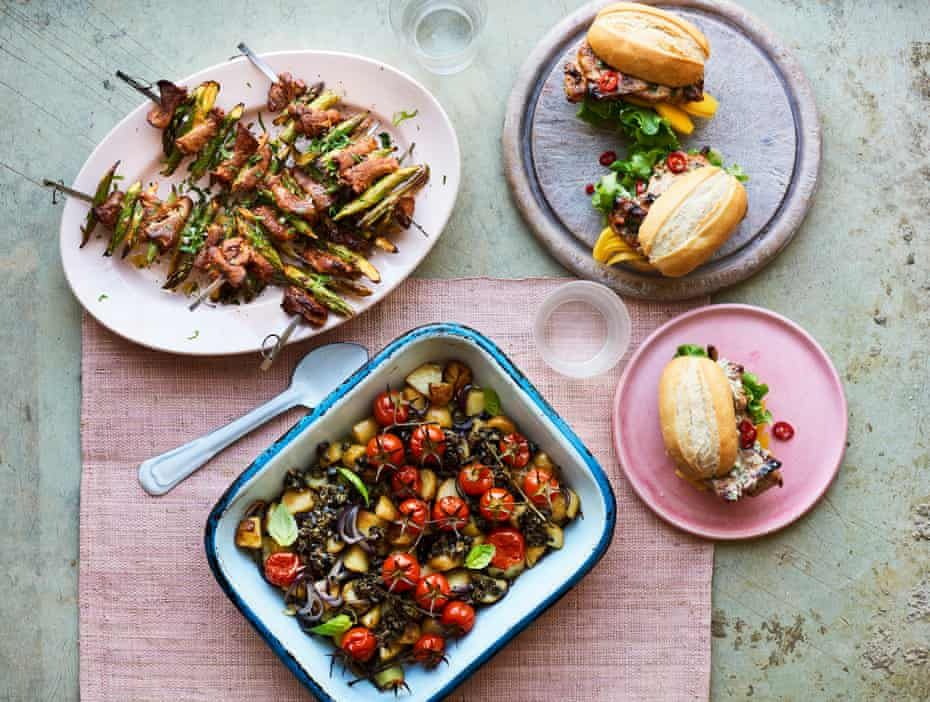 Genevieve Taylor's barbecue spread of pork skewers, Vietnamese chicken in a bun, and a smoky new potato salad.