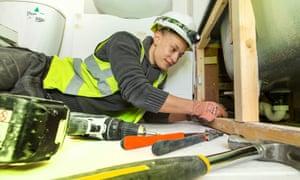 Abby Shorter, an apprentice plumber