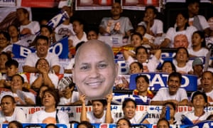 Supporters of Ronald 'Bato' Dela Rosa at a rally before Monday's vote. The former police chief was the architect of the the Philippines' war on drugs.