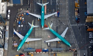 Boeing 737 Max airplanes parked on the tarmac at the Boeing Factory in Renton, Washington on 21 March 2019.