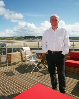 Rick Stein on the rooftop of his Seafood Restaurant in Padstow, Cornwall