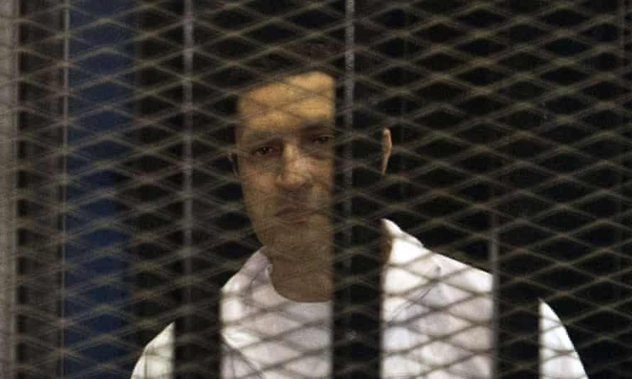 Hosni Mubarak's son Alaa during his 2013 retrial in Cairo.