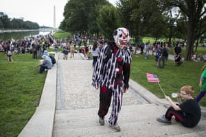 BESTPIX - Insane Clown Posse Fans, Or Juggalos, Protest FBI Gang DesignationWASHINGTON, DC - SEPTEMBER 16: A Juggalo gathers during the Juggalo March, at the Lincoln Memorial on the National Mall, September 16, 2017 in Washington, DC. Fans of the band Insane Clown Posse, known as Juggalos, are protesting their identification as a gang by the FBI in a 2011 National Gang Threat Assessment. (Photo by Al Drago/Getty Images *** BESTPIX ***