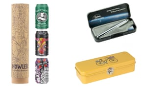How about, clockwise from left, a Howler beer pack; Fisher space pen; or London Transport museum pencil tin?