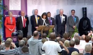 Lord Buckethead stands alongside Theresa May in Maidenhead in the 2017 general election.
