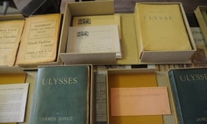 A selection of classic Irish literature, including a copy of James Joyce's Ulysses.