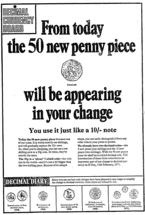 An advert for the new 50p in the Guardian, 14 October 1969