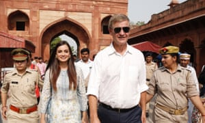 Solheim and Dia Mirza, UN Environment goodwill ambassador for India, visit the Taj Mahal in Agra for World Environment Day in June