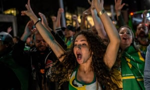 Supporters of right-wing candidate Jair Bolsonaro celebrate victory in the presidential elections.