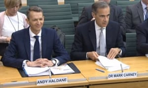 Andy Haldane and Mark Carney give evidence to the Commons Treasury select committee.
