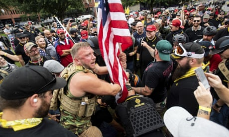 Portland sees far-right and counter-protesters take to streets – video