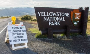 A sign announces the closure of the Yellowstone national park in Wyoming during the government shutdown in October 2013.