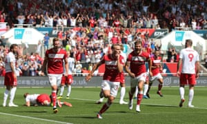 Andreas Weimann celebrates after scoring an early opener for Bristol City.