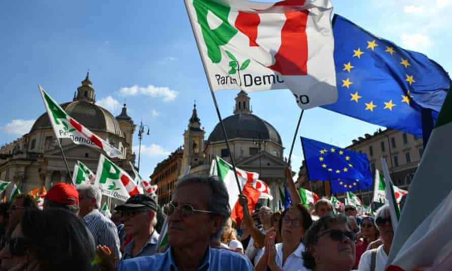 Italian anti-government protesters rally in Rome.