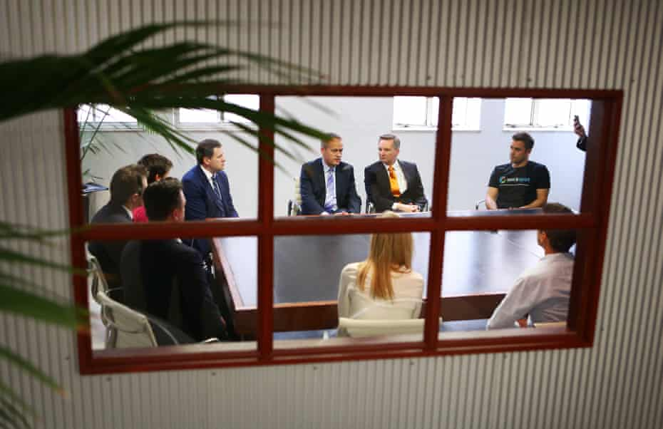Bill Shorten with the shadow treasurer, Chris Bowen, and founders of Australian start-up firms in Sydney