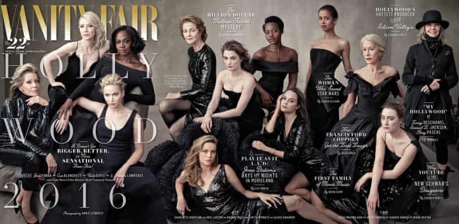 Left to right: Jane Fonda, Cate Blanchett, Jennifer Lawrence, Viola Davis, Charlotte Rampling, Brie Larson, Rachel Weisz, Lupita Nyong'o, Alicia Vikander, Gugu Mbatha-Raw, Helen Mirren, Saoirse Ronan and Diane Keaton