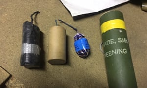 Weapons including a home made grenade which was found at the home of Matthew Glynn in Bristol.