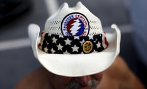 Forever grateful: a fan in a hat with the band's patch.