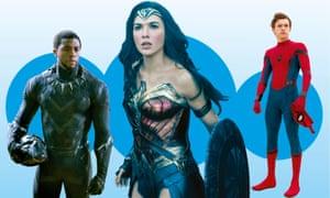 Black Panther, Wonder Woman and Spider Man