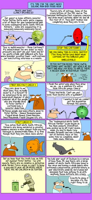 A mean cartoon of Peter Dutton, who I am dead to