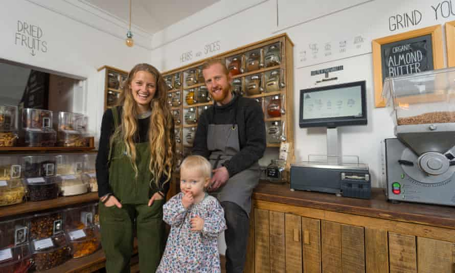 Richard Eckersley and his wife Nicola who set up the UK's first 'zero waste' shop in Totnes, Devon