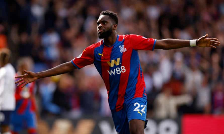 Crystal Palace's Odsonne Édouard celebrates scoring his new side's third goal