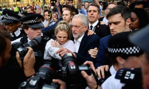 Jeremy Corbyn struggles through the crowd to deliver his speech outside the Houses of Parliament