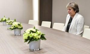 Theresa May waits for Donald Tusk