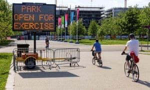 The Queen Elizabeth Olympic Park during the coronavirus lockdown.